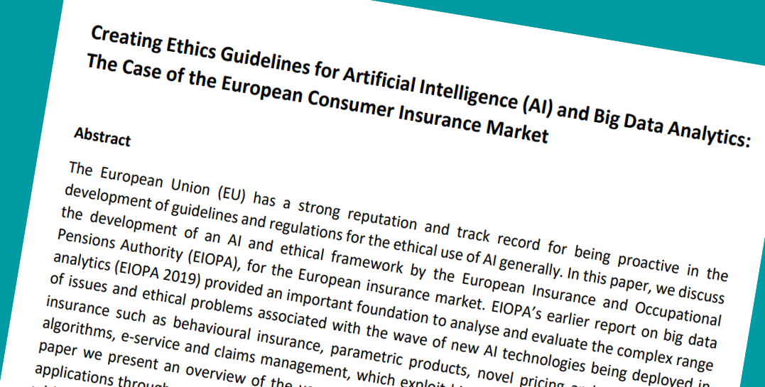 Creating Ethics Guidelines for Artificial Intelligence (AI) and Big Data Analytics:  The Case of the European Consumer Insurance Market